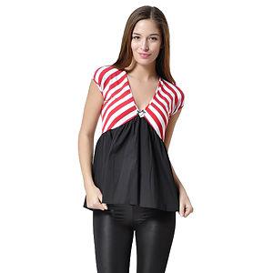 Altı Siyah, Üstü Kırmızı Beyaz Çizgili T-Shirt