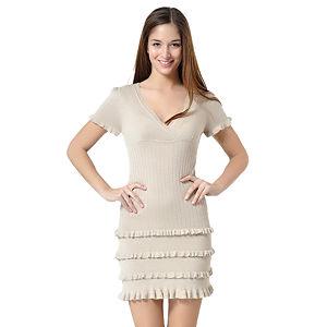 Bej, Eteği Fırfır Detaylı Elbise