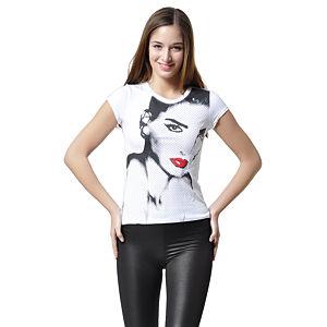 Beyaz, Üzeri Kadın Baskılı T-Shirt