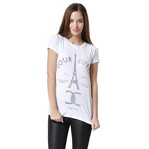 Beyaz, Üzeri Tour Eiffel Baskılı T-Shirt