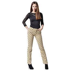 Sarı Üzeri Siyah Çiçek Damgalı Pantolon