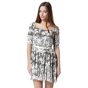Siyah Beyaz Kemerli Çiçekli Elbise