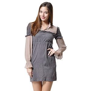 Triko / Tül Detaylı Antrasit Elbise