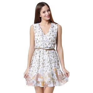 V Yaka Kemerli, Eteği Çiçek Desenli Elbise