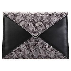Mecrea Accessories Gri Krokodil Siyah Deri Zarf Portföy