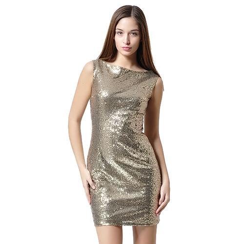 Mecrea Altın Pul Payetli Elbise