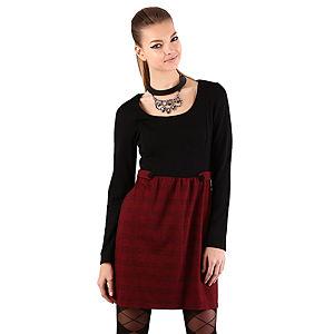 Mecrea Ekose Siyah Düğmeli Elbise