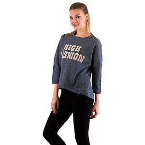 Mecrea High Fashion Mavi Aplike Taşlı İplik Bluz