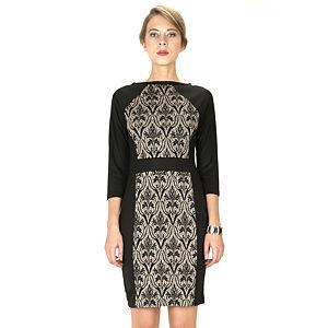 Mecrea Kolları Siyah Önü Vizon Siyah Desenli Elbise