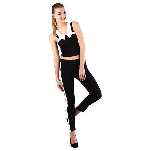 Mecrea Monochrome Beyaz Şeritli Siyah Pantolon