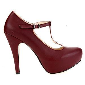 Mecrea Shoes Anastasia Bordo Bilekten Bağlı Platform Topuklu