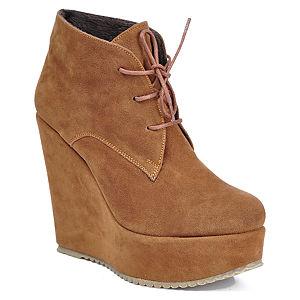 Mecrea Shoes Bağcıklı Açık Kahve Dolgu Topuk Bootie