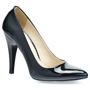 Mecrea Shoes Blackk Rugan Siyah Stiletto