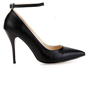 Mecrea Shoes Elegance Bilekten Bağlı Siyah Stiletto