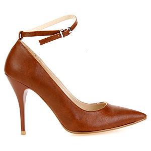 Mecrea Shoes Elegance Bilekten Bağlı Taba Stiletto