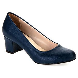 Mecrea Shoes French Lacivert Deri Kısa Topuklu