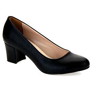 Mecrea Shoes French Siyah Deri Düşük Topuklu