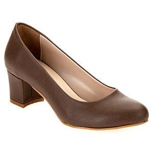 Mecrea Shoes French Vizon Deri Kısa Topuklu