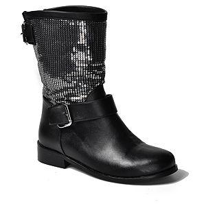 Mecrea Shoes Raider Parlak Gümüş Payetli Siyah Bot