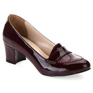 Mecrea Shoes Reya Bordo Rugan Kısa Topuklu