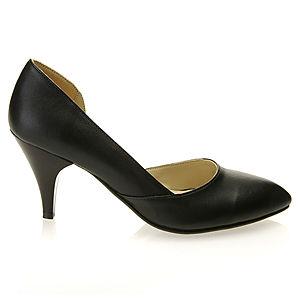 Mecrea Shoes Siyah Alçak Topuk Yanları Açık Stiletto