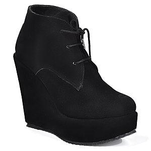 Mecrea Shoes Siyah Bağcıklı Dolgu Taban Bootie