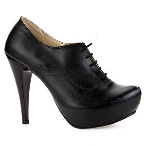 Mecrea Shoes Siyah Deri Bağcıklı Bootie