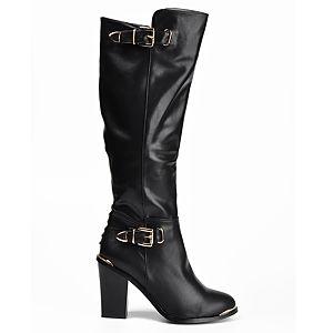 Mecrea Shoes Siyah Dizaltı Topuklu Çizme