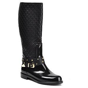 Mecrea Shoes Siyah Kapitone Troklu Yağmur Çizmesi