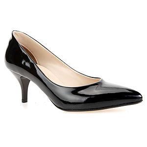 Mecrea Shoes Siyah Rugan Alçak Topuk Ayakkabı