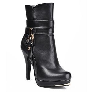 Mecrea Shoes Siyah Topuklu Metal Detaylı Bootie