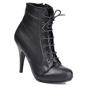 Mecrea Shoes Siyah Yandan Fermuarlı Bootie
