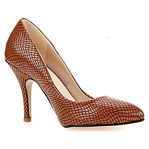 Mecrea Shoes Taba Rugan Yılan Stiletto