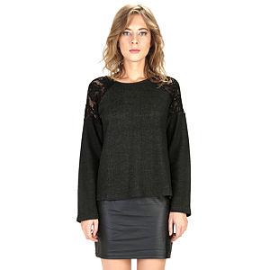 Mecrea Siyah Omuzları Dantel Detaylı Bluz