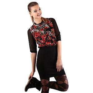 Mecrea Siyah Üstü Kırmızı Çiçek Desenli Elbise