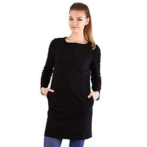Mecrea Siyah Uzun Kollu Dekolte Fermuarlı Elbise