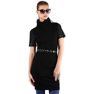 Mecrea Yakalı Kolları Zımbalı Tasarım Elbise