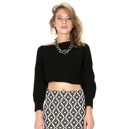 Street Fashion Crop Yarım Triko Siyah