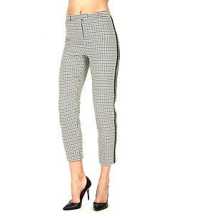 Street Fashion Kaz Ayağı Pantolon Yanları Deri Detaylı