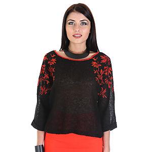 Street Fashion Kırmızı Nakışlı Kazak