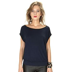 Street Fashion Lacivert-Siyah Kolsuz Bluz