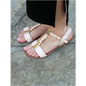 Street Fashion nude renk sandalet