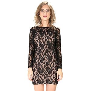 Street Fashion Siyah Dantel Elbise Uzun Kollu Elbise