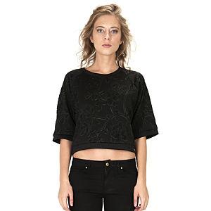 Street Fashion Siyah Kabartmalı Çiçek Baskılı Sweat