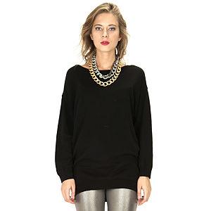 Street Fashion Siyah Uzun Triko